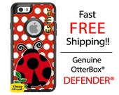 OTTERBOX DEFENDER iPhone 6 5 5S 5C 4/4S iPod Touch 5G Case Custom Ladybug Red Black Polka The Lexi Collection Monogram Personalized ID