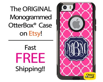 iPhone OtterBox Commuter Case for iPhone 7, 7 Plus, 6/6s, 6 Plus/6s Plus, 5/5s/SE, 5c Galaxy S7 S6 S5 Note 5 Monogrammed Hot Pink Lattice