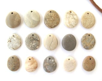 Rock Pendants Top Drilled Beach Stones Mediterranean River Stone Beads Natural Stone Beads DIY Jewelry Findings MARKED PENDANTS 24-28 mm