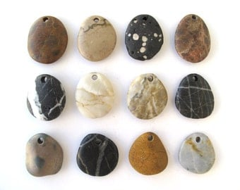 Rock Pendants Natural Stone Beads Mediterranean DIY Jewelry Beach Stone Beads Drilled River Stones Pebble Pendants MAROON PENDANTS 25-30 mm
