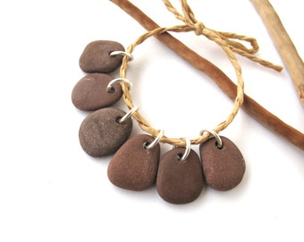 Stone Beads Rock Charms Drilled Rock Mediterranean Beach Stone Beads Natural Stone Charms River Stone Pebble Pairs BROWN CHARMS  15-17 mm