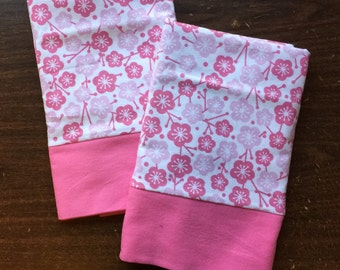 Set of Beautiful Flower pillow cases made with 100% cotton flannel standard/queen