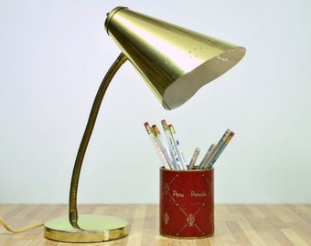 Vintage Brass Gooseneck Desk Lamp