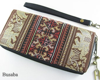 Personalized Monogramed Wallet, Elephant Embroidered Zippered Wallet, Colorful Hmong Tribal Long Wallet, Brown Wallet