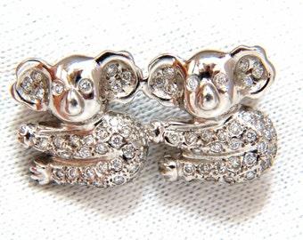 "0.80ct diamonds ""Mating Pandas"" brooch pin 18kt fertile charm"