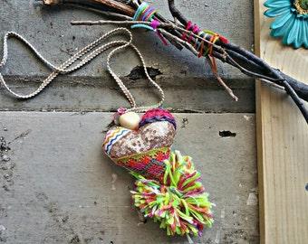 neon pom pom heart necklace, statement necklace, rose gold heart, rose gold necklace, neon necklace, boho jewelry, festival gypsy necklace