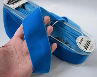 Vintage 2 inch velvet ribbon, Cerulean Blue velvet,  Ocean Blue vintage velvet ribbon, teal blue, Azure blue, turquoise blue velvet, V1626