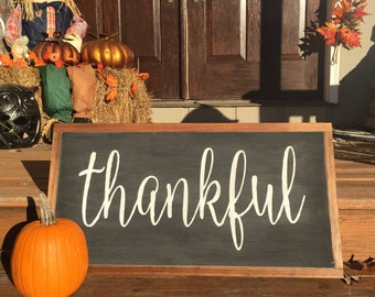 Wood Sign - Handcrafted - THANKFUL - Hand Lettering, Christmas, Holidays