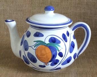 Vintage Italian Teapot--Blue and White Teapot