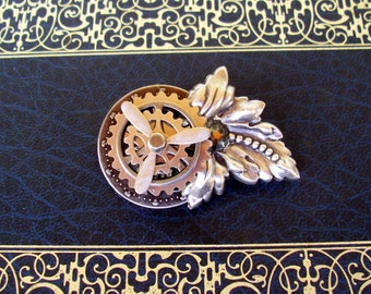 SALE-Steampunk Engineer Medal (P522) - Brass Gears and Propeller - Lapel or Jacket Pin - Crystal