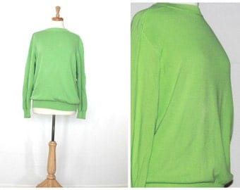 Bright lime green cotton knit sweater / retro United Colors of Benetton / oversized slouchy crewneck lightweight / made in Italy