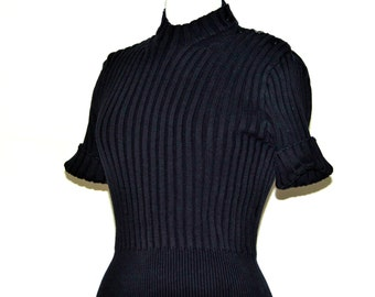 Dark navy blue cotton cropped sweater / chunky ribbed knit spring fashion / nautical preppy size medium / Ann Taylor