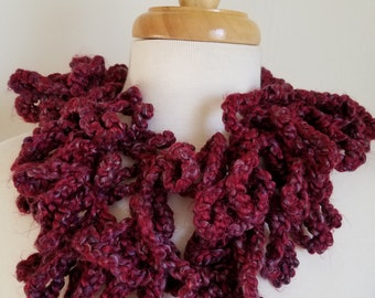 Burgundy Crocheted Loopy Scarf