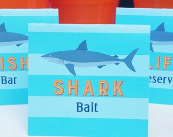 50% OFF SALE - Shark Tent Style Buffet Labels Printable - Instant Download - Shark Stripe Collection
