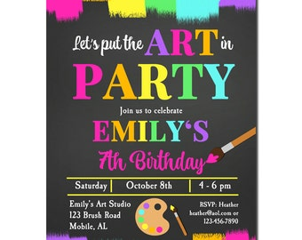 Painting Arts and Crafts Invitation Printable or Printed with FREE SHIPPING - Chalkboard Art Collection