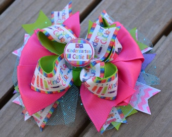 KINDERGARTEN, FIRST grade, SECOND grade school Hair bow for back to school, everyday wear or gifts! Great for first day of school!