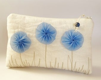 Be my Flower Girl Gift Idea, Flower Girl Wedding Gift Bag, Ivory Clutch with Blue Flowers, Best Day Ever Girl Gift Purse