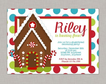 Gingerbread Birthday Invitation, Gingerbread House Invitation, Gingerbread Party