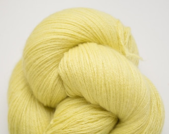 Lemon Fingering to Sport Weight Recycled Cashmere Yarn