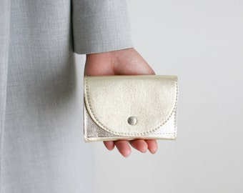 Small Wallet Light Gold Leather,  flat womens wallet, small leather purse