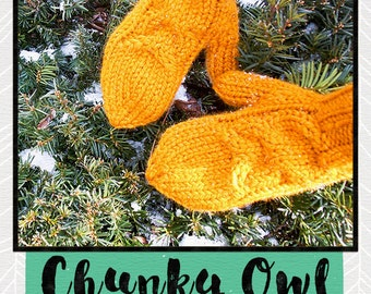 KNITTING PATTERN, Chunky Owl Mittens,  PDF Digital File, Written and Charted Instuctions, Instant Download