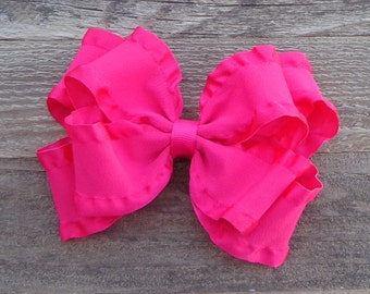 Ruffled Hair Bows~Pink Hair Bow~Boutique Hair Bow~Double Ruffled Hair Bow~Ruffled Bows~Bows for Weddings~Newborn Hair Bow~Large Hair Bow