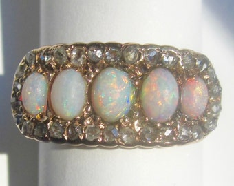 Antique Opals and Rose Cut Diamonds Halo Ring 14K