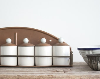 Vintage Porcelain & Copper Spice Rack
