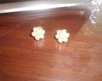 vintage clip earrings faux pearls glass bead clusters