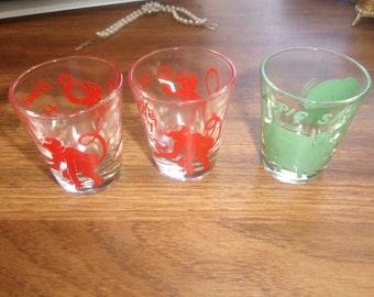 lot 3 vintage shot glass barware monkey pig  drink