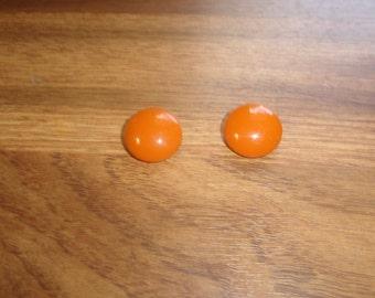 vintage clip on earrings orange metal