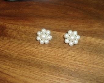 vintage clip on earrings faux pearls clusters