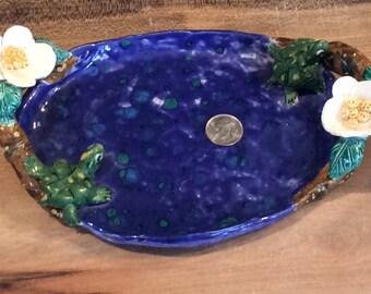 Turtle tray or soap dish handmade in US from a lump of clay