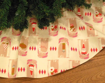 "Mid Century Modern Christmas Tree Skirt, Christmas Cocktails, Pink Christmas Decoration, Holiday Decor, Santa Decoration 42"" Xmas Tree Skirt"