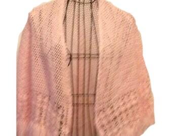 Crochet Cape for Girl Light Pink Open Work Lightweight Pastel Pink  Handmade Ready to Ship