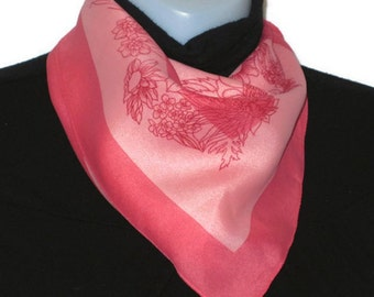 70s Pink Floral Scarf Square Scarf Pink Head Scarf Pink Purse Scarf Ponytail Scarf 60s Pink Accessory 70s 60s Pink Scarf Pink Neckerchief