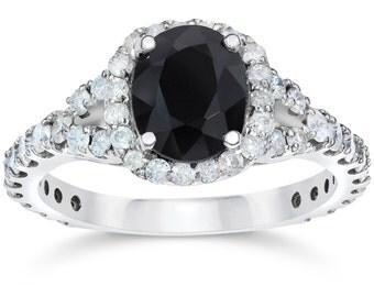 2.25CT Black Sapphire & Diamond Cushion Halo Engagement Ring 14K White Gold