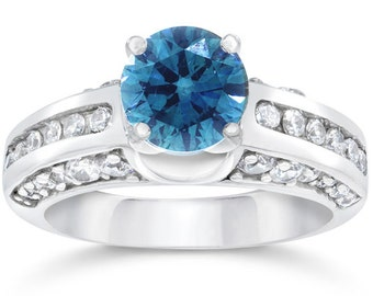 1.82CT Blue & White Diamond Ring 14K White Gold (Sizes 4-9)