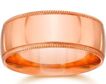 9mm Milgrain 14K Rose Gold Polished Wedding Band