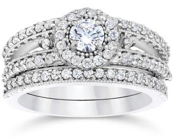 1 Carat Vintage Halo Diamond Engagement Wedding Ring Set 14K White Gold