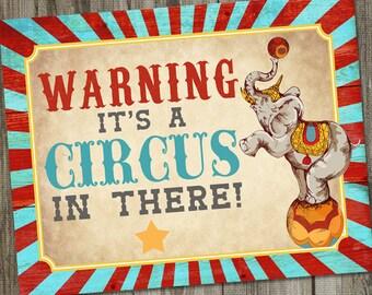 "Vintage Circus Birthday PRINTABLE 14x11"" Party Sign, Vintage Circus Party Sign, Circus Party Decoration, Circus Birthday Decoration"