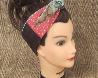 Patchwork rambling rose reversible headband/ reversible headbands/ Rockabliity headbands/ Dolly Bow heahband