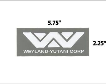 Weyland Yutani Corp grey and white vinyl sticker decal