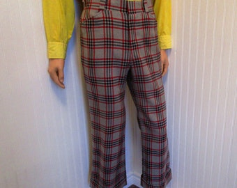 "70s 33"" x 27"" Nash Mens Flares Bell Bottom Cuffed PANTS Wool Gray Red Windowpane Plaid"