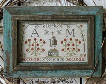 Home Sweet Home Sampler : Pineberry Lane counted cross stitch patterns housewarming personalized monogram wedding anniversary embroidery