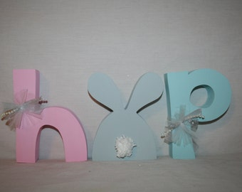 Easter decor BUNNY Easter wood letters Spring decor Holiday Seasonal Home decor Easter bunny
