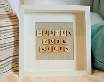 Baptism gift custom scrabble name personalised new baby Christening nursery decoration