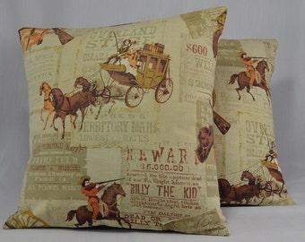 "Cotton Pillow Cover Cushion Cover Vintage Pillow Retro Pillow Western Pillow Guns Horses- 16"" Pillow Cover - PC10"