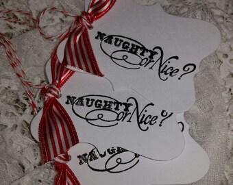 Christmas Tags, Name Tags, Set of 6
