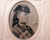 antique tintype with paper frame - woman, Bagley